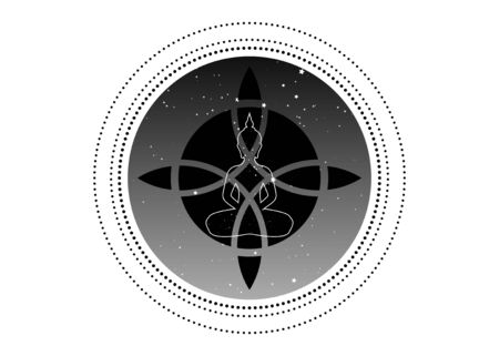 sacred flower and yoga design for infographics and business icon. Sacred geometry, with a meditating buddha silhouette, round starry universe background, vector isolated  イラスト・ベクター素材