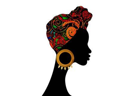 portrait beautiful Afro woman. Shenbolen Ankara Head Wrap Women African Traditional Head Tie Scarf Turban. Colorful Kente head wraps African fabric design abstract texture.