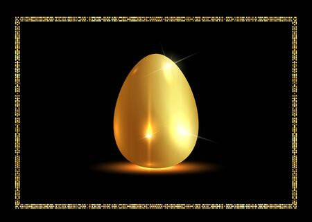 golden easter egg and gold frame for Easter holidays. Vector isolated on black background