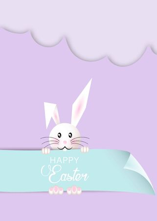 Happy Easter cartoon, paper cut style, white Rabbit and colorful template, flat design, outline drawing. Easter Bunny greeting card, vector holidays background Banque d'images - 138555273