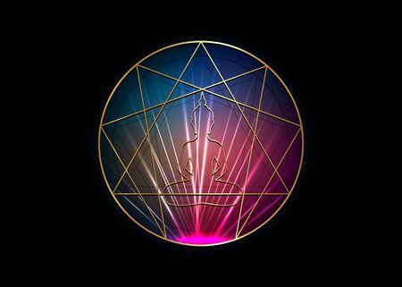 Enneagramma yoga icona design per infografica e business. Icona dell'Enneagramma d'oro, geometria sacra, con una sagoma di Buddha meditante nel mezzo, illustrazione vettoriale isolata su sfondo nero Vettoriali