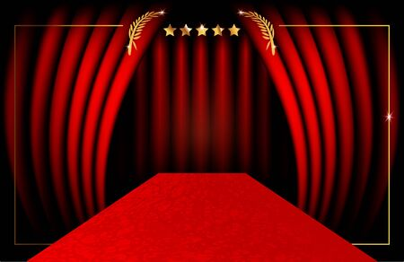 red carpet party concept and luxury gold frame, vip background