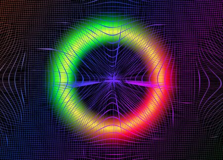 psychedelic grid with luminescent neon round. Bright abstract retro futuristic background, distorted holographic pearly neon mesh. Vaporwave, synthwave, cyberpunk illustration. Disco Party fluid music