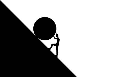 Mann schiebt großen Felsbrocken bergauf. Konzept der Müdigkeit, Anstrengung, Mut, Kraft, Kraft Vector Cartoon schwarze Silhouette im flachen Design isoliert auf weißem Hintergrund