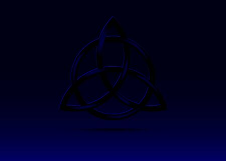 Triquetra symbol, Trinity Knot, Wiccan symbol for protection. 3D Vector dark blue Celtic trinity knot set isolated on black background. Wiccan divination symbol, Ancient occult symbols
