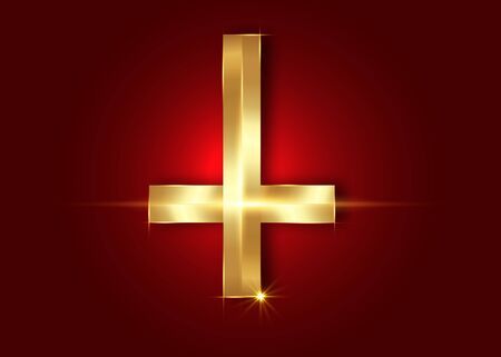 The Cross of Saint Peter or Petrine Golden Cross is an inverted Latin cross traditionally used as a Christian symbol, but in recent times also used as an anti-Christian symbol. Vector isolated on red