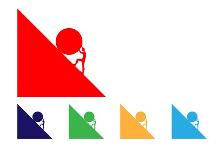 set colorful icons with man pushing big boulder uphill. Concept of fatigue, effort, courage, power, force Vector cartoon multicolour silhouette in flat design isolated on white background