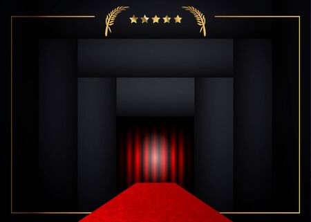 red carpet concept background, golden frame and gold stars with black background. VIP party entry