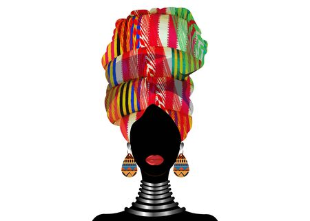 Portrait beautiful African woman in traditional turban wearing typical Afro ethnic jewelry. Vector isolated or white background