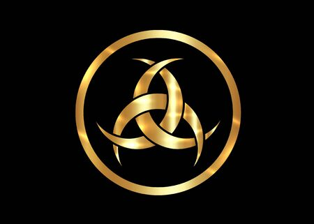 Gold Emblem Of Diane De Poitiers, Three Interlaced Crescents moon. Religion symbol, Odin icon. Golden luxury Celtic sacred flower Wiccan divination, tattoo tribal sign isolated on black background  イラスト・ベクター素材