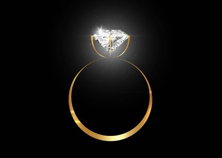 Vector dazzling diamond ring on black shining background. concept for chossing best diamond gem design. Realistic wedding gold ring isolated on black