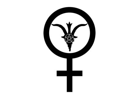The Satanic Temple icon. Leviathan Cross alchemical symbol for sulfur, associated with the fire and brimstone of Hell. Vector illustration isolated
