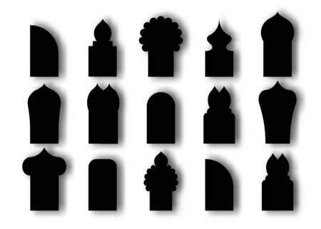 Set Arabic arch window and doors black icon. Traditional design and culture islamic windows. Vector flat style cartoon illustration isolated on white background