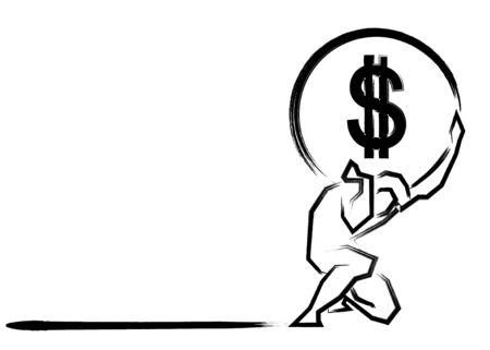 Businessman carrying a big stone american dollar sign on his back. Overloaded guy, difficult burden and debt pressure. Business corruption issue. Vector Financial crisis concept isolated