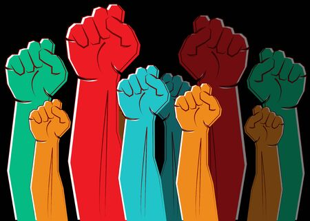 colorful clenched fists hands raised in the air. Protest, strength, freedom, revolution, rebel, revolt concept design vector illustration isolated on black background