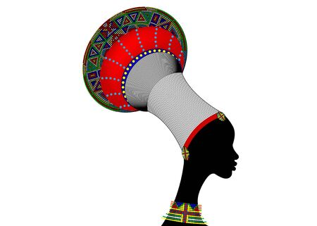 silhouette of young african zulu woman. South Africa traditional colorful afro bead turban and intricate jewelry. Ethnic beaded headdress. Vector isolated on white background