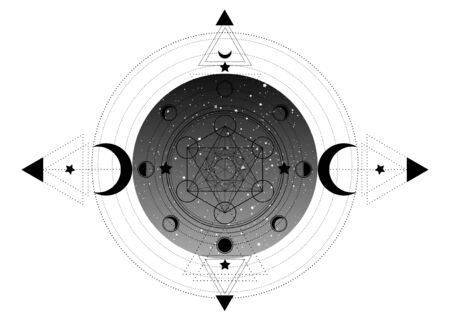 Metatrons Cube, Flower of Life, Sacred geometry, esoteric spiritual icon and the moon phases. Masonic symbol inside triple moon pagan Wicca moon goddess icon isolated on white background Иллюстрация