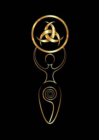 Wiccan woman mother earth symbol of sexual procreation, the spiral cycle of life and gold Emblem Of Diane De Poitiers, Three Interlaced Crescents moon. Isolated on black background