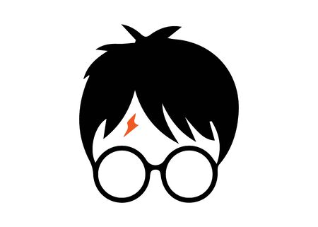 icon of a wizard boy with round glasses, vector isolated