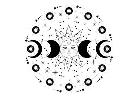 Triple moon, pagan Wiccan goddess symbol, sun system, moon phases, orbits of planets, energy circle. Sacred geometry of the wheel of the year, vector isolated on transparent white background