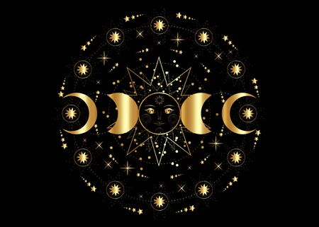 Triple moon, Golden pagan Wiccan goddess symbol, sun system, moon phases, orbits of planets, energy circle. Sacred geometry of the wheel of the year, vector isolated on transparent white background Иллюстрация