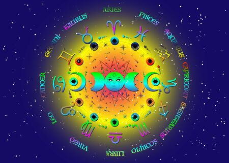 wheel of the zodiac signs and triple moon, colorful pagan Wiccan goddess symbol, sun system, moon phases, orbits of planets, energy circle. Vector isolated on blue starry universe background