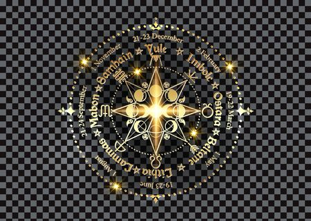 wheel of the Year is an annual cycle of seasonal festivals. Gold Wiccan calendar and holidays. Compass with triple moon Wicca pagan goddess and moon phases symbol, names in Celtic of the Solstices Иллюстрация