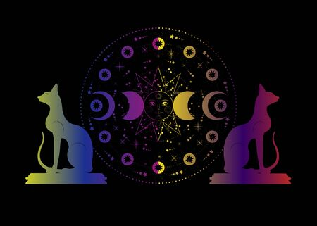 Triple moon and cats, pagan Wiccan goddess symbol, sun system, moon phases, orbits of planets, energy circle. Colorful Sacred geometry of the wheel of the year, vector isolated on black background Иллюстрация