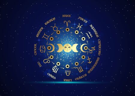 gold wheel of the zodiac signs and triple moon, pagan Wiccan goddess symbol, sun system, moon phases, orbits of planets, energy circle. Vector isolated on starry blue galaxy background Иллюстрация
