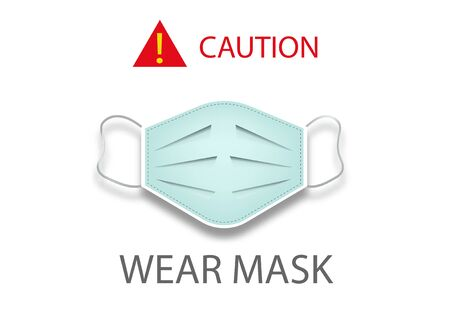 Surgical mask concept icon, coronavirus Covid 19 protection, caution wear mask, vector isolated on white background