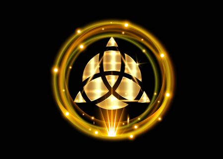 Triquetra geometric, Gold shiny round with Trinity Knot, Wiccan symbol for protection. Vector Celtic trinity knot isolated on black background. Wiccan Ancient occult divination symbol