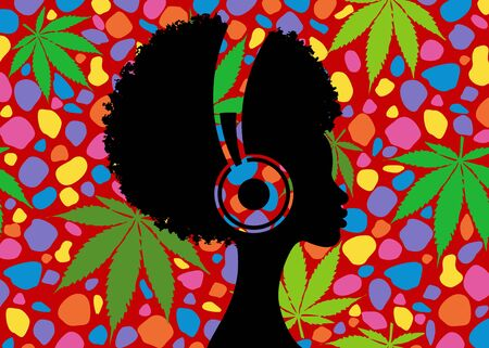 Afro girl listens to music on headphones. Music therapy. Profile of a young African American woman. Musician avatar side view. Vector flat illustration isolated on colorful retro cannabis background