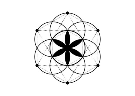 Seed of life symbol Sacred Geometry. Geometric mystic mandala of alchemy esoteric Flower of Life. Vector black tattoo divine meditative amulet isolated on white background Ilustração
