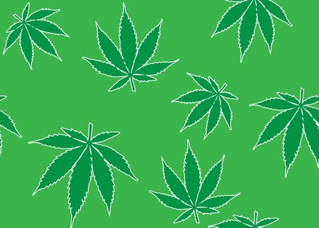 Seamless pattern with cannabis leaves. green color style vector illustration isolated on white wallpaper. Great for backgrounds, fabrics, wrapping paper, packaging Illustration