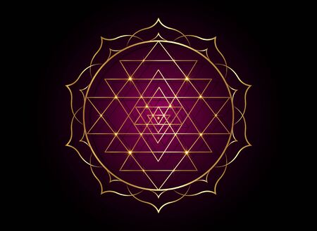 mystical mandala of Sri Yantra for your design. Golden sacred geometry and alchemy symbol blooming in a gold lotus flower, vector isolated on white background