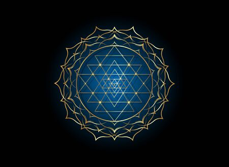mystical mandala of Sri Yantra for your design. Golden sacred geometry and alchemy symbol blooming in a gold lotus flower, vector isolated on white background Vector Illustration