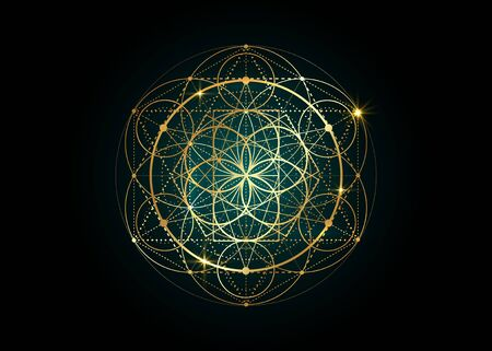 Seed of life symbol Sacred Geometry. Geometric mystic mandala of alchemy esoteric Flower of Life. Gold luxury design, vector divine meditative amulet isolated on black background