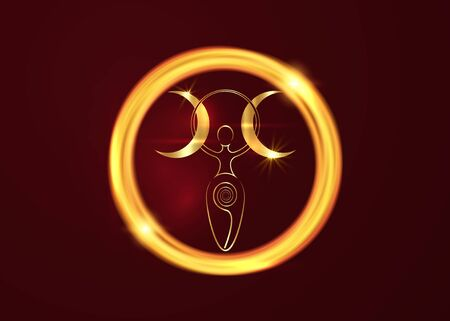 gold spiral goddess of fertility and triple moon Wiccan. The spiral cycle of life, death and rebirth. Golden Woman Wicca mother earth symbol of procreation in golden round frame neon sign Vektorgrafik