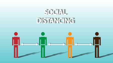 Social distancing concept people standing away to prevent COVID-19 coronavirus disease vector illustration isolated on blue background