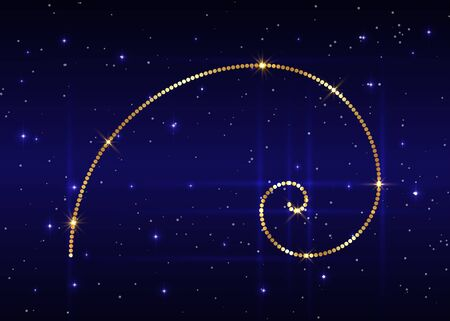Golden ratio. Fibonacci number, golden section, divine proportion and shiny gold spiral, vector isolated on blue starry night sky background