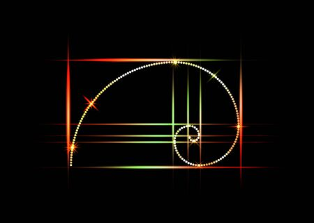 Golden ratio. Fibonacci number, colorful section, divine proportion and shiny spiral in neon sign, vector isolated on black background