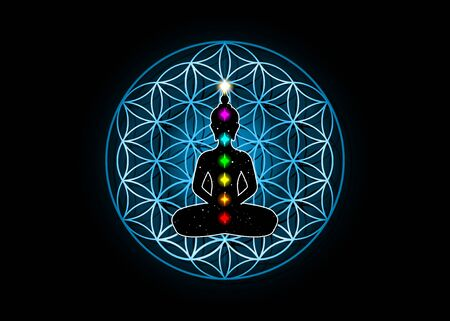 Sacred Geometry, flower of life and Buddha in a lotus position with colorful 7 chakras. Metatrons cube. Symbol of alchemy, religion and spirituality. Vector isolated on black background