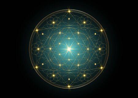 Seed of life symbol Sacred Geometry. Geometric mystic mandala of alchemy esoteric Flower of Life. Gold luxury design, vector divine meditative Tibetan amulet isolated on black background
