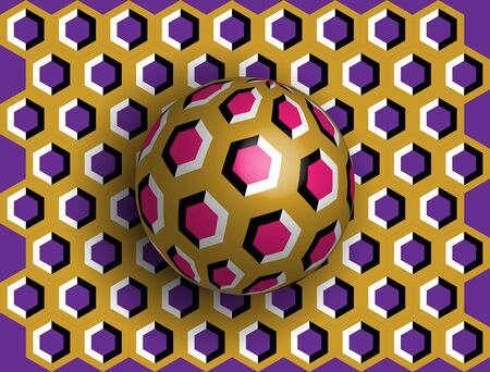Ball optical illusion clipart. Optical illusion of movement. A sphere is spinning around a moving floor. Abstract fantasy in a surreal style. Optical illusion to confuse you with your head