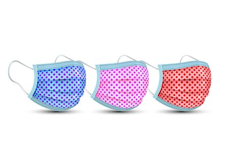 Medical face mask, Safety surgical mask, Colorful fashion Cotton mask for Corona virus, polka dots fabric pattern. Dust Protection for Hospital or pollution protect gear. Vector isolated on white