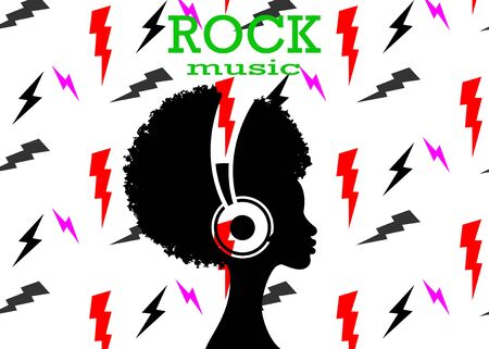 The Afro girl listens to music on headphones. Rock music concept. Profile of a young African American woman. Musician avatar side view. Vector isolated on lightnings sign and white background Ilustração