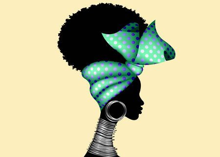 Portrait African woman wears bandana for curly hairstyles. Shenbolen Ankara Headwrap. Afro Traditional Headtie Scarf Turban in polka dots fabric design texture. Vector isolated 1950's Pin-up style
