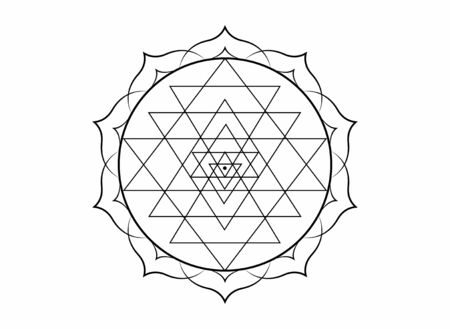 mystical mandala of Sri Yantra for your design. black sacred geometry and alchemy symbol blooming in a lotus flower, tattoo vector isolated on white background