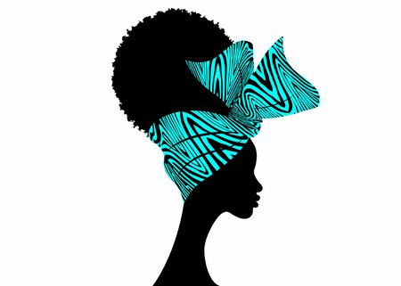 Portrait African woman wears bandana for curly hairstyles. Shenbolen Ankara Headwrap Women. Afro Traditional Headtie Scarf Turban in blue tribal zebra fabric design texture. Vector isolated on white