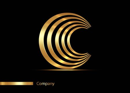 Letter C gold logo design. Vector graphic elegant golden font with sample text, luxury symbol alphabet striped letter C for your Company, isolated on black background